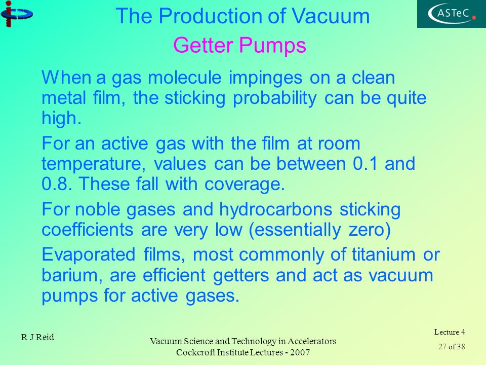 Lecture 4 27 of 38 The Production of Vacuum R J Reid Vacuum Science and Technology in Accelerators Cockcroft Institute Lectures - 2007 Getter Pumps Wh