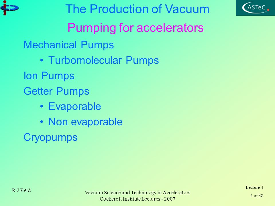 Lecture 4 4 of 38 The Production of Vacuum R J Reid Vacuum Science and Technology in Accelerators Cockcroft Institute Lectures - 2007 Pumping for acce
