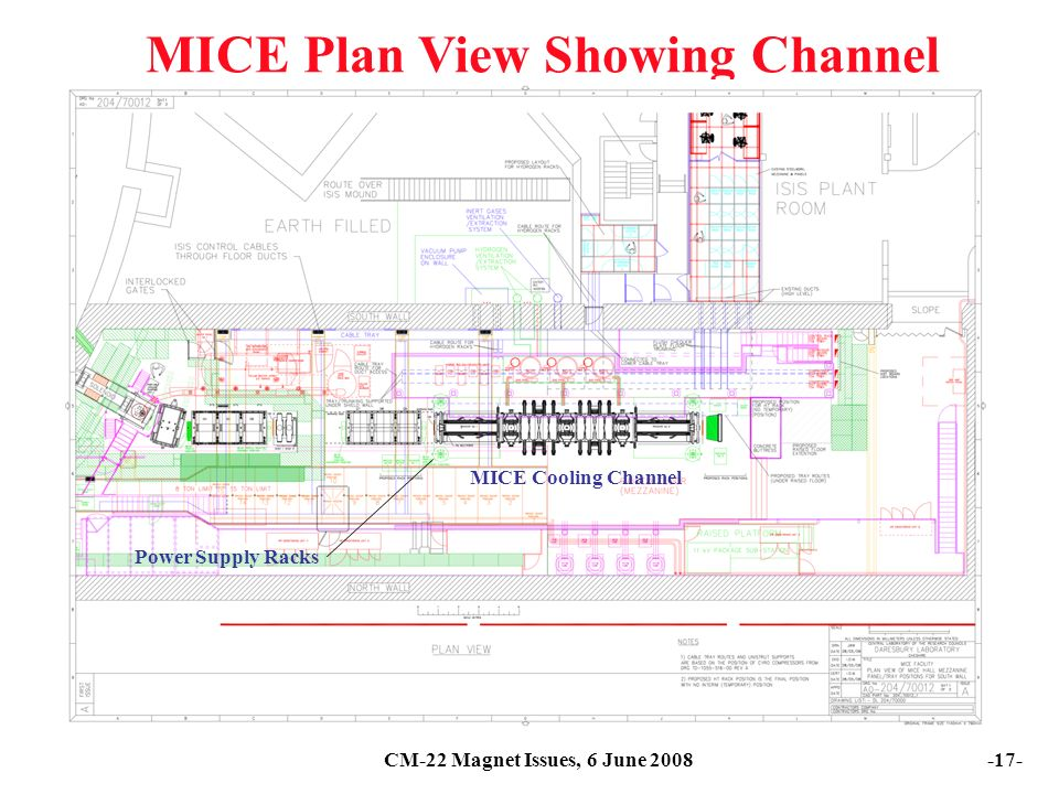 CM-22 Magnet Issues, 6 June MICE Plan View Showing Channel Power Supply Racks MICE Cooling Channel