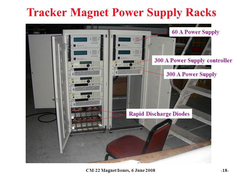 CM-22 Magnet Issues, 6 June Tracker Magnet Power Supply Racks 60 A Power Supply Rapid Discharge Diodes 300 A Power Supply controller 300 A Power Supply