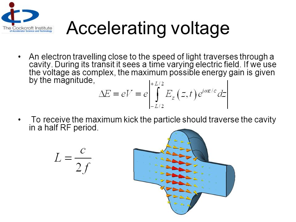 Accelerating voltage An electron travelling close to the speed of light traverses through a cavity. During its transit it sees a time varying electric