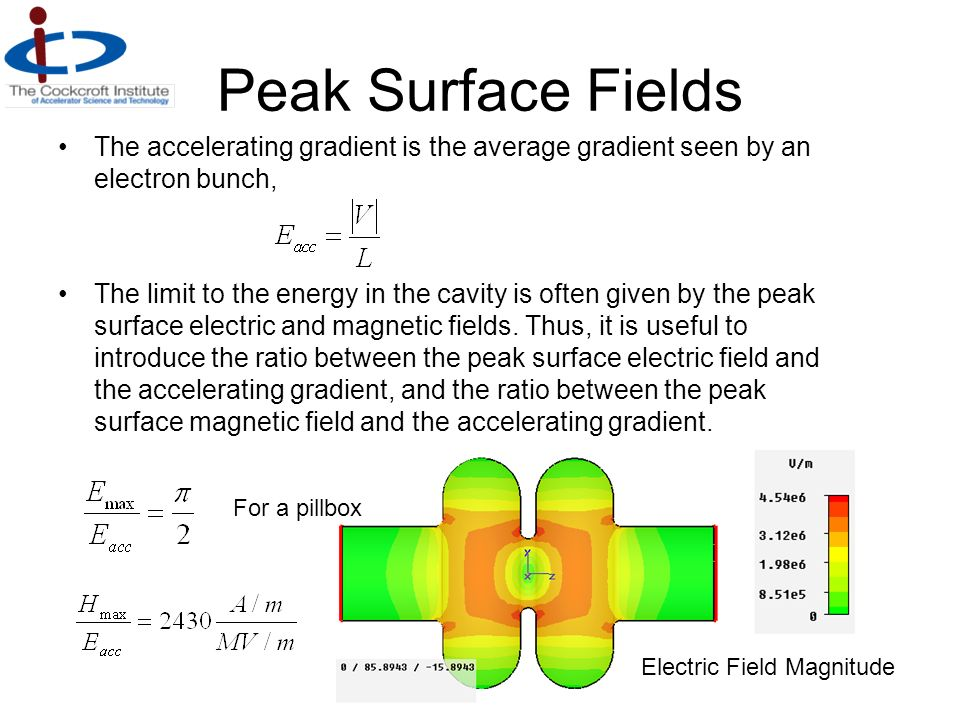 Peak Surface Fields The accelerating gradient is the average gradient seen by an electron bunch, The limit to the energy in the cavity is often given