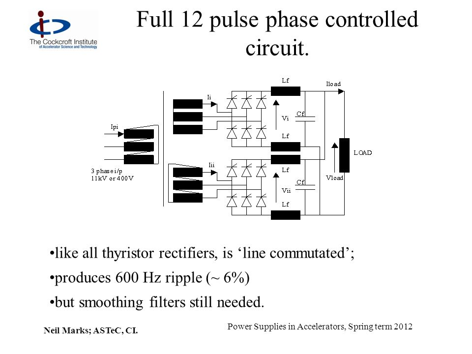 Neil Marks; ASTeC, CI. Power Supplies in Accelerators, Spring term 2012 Full 12 pulse phase controlled circuit. like all thyristor rectifiers, is line