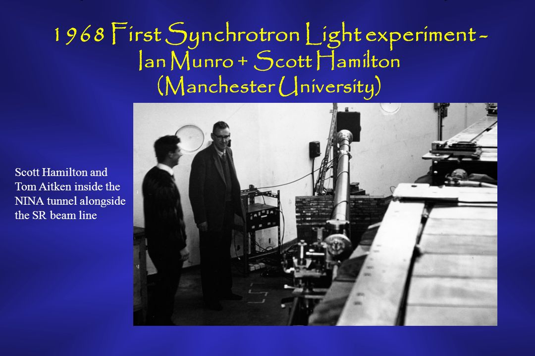 1968 First Synchrotron Light experiment - Ian Munro + Scott Hamilton (Manchester University) Scott Hamilton and Tom Aitken inside the NINA tunnel alongside the SR beam line
