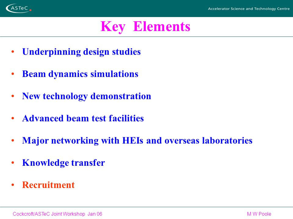 Cockcroft/ASTeC Joint Workshop Jan 06 M W Poole Key Elements Underpinning design studies Beam dynamics simulations New technology demonstration Advanced beam test facilities Major networking with HEIs and overseas laboratories Knowledge transfer Recruitment