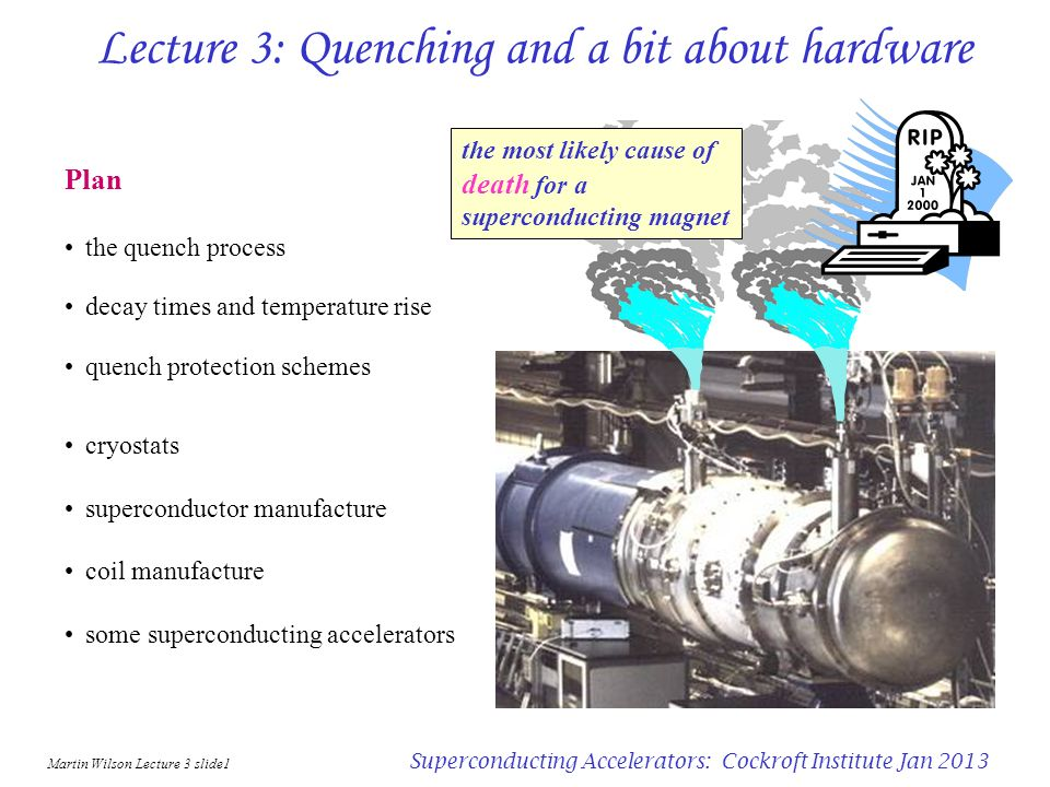 Martin Wilson Lecture 3 slide11 Superconducting Accelerators: Cockroft Institute Jan 2013 Resistance growth and current decay - numerical start resistive zone 1 temperature of each zone grows by 1 J t / C( 1 J 2 ( 2 ) t / C( n J 2 ( 1 ) t / C( n v t vdt in time t add zone n: v.