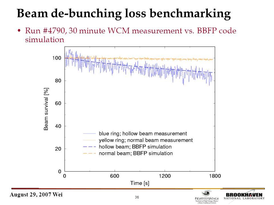 August 29, 2007 Wei 36 Beam de-bunching loss benchmarking Run #4790, 30 minute WCM measurement vs.
