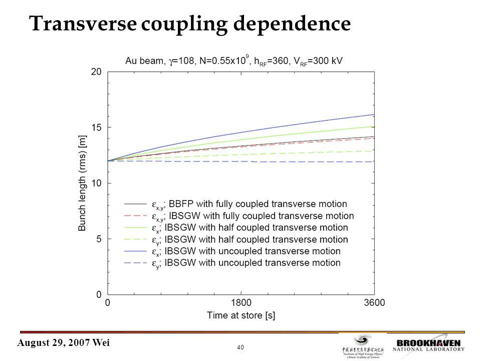 August 29, 2007 Wei 40 Transverse coupling dependence