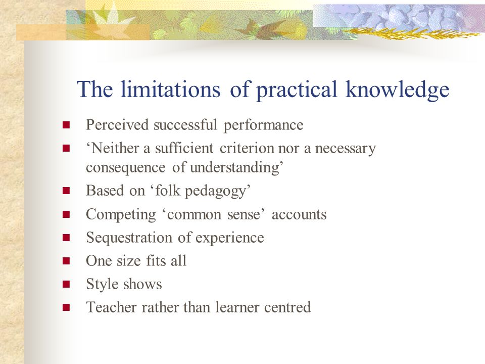 The limitations of practical knowledge Perceived successful performance Neither a sufficient criterion nor a necessary consequence of understanding Ba