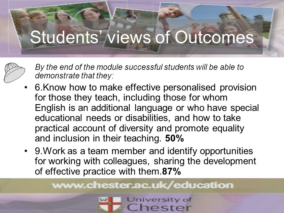 Students views of Outcomes By the end of the module successful students will be able to demonstrate that they: 6.Know how to make effective personalis