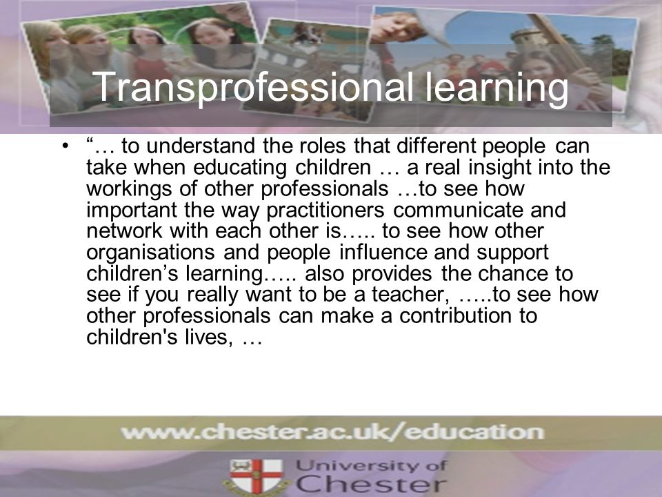 Transprofessional learning … to understand the roles that different people can take when educating children … a real insight into the workings of othe