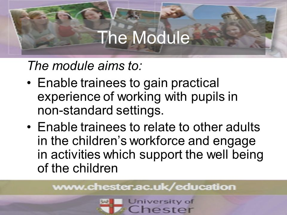 The Module The module aims to: Enable trainees to gain practical experience of working with pupils in non-standard settings.