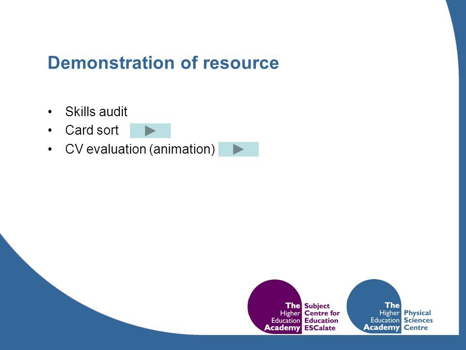 Demonstration of resource Skills audit Card sort CV evaluation (animation)
