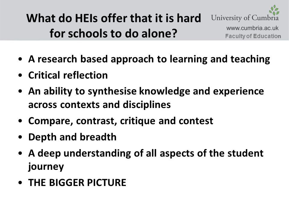 Faculty of Educatio n What do HEIs offer that it is hard for schools to do alone.