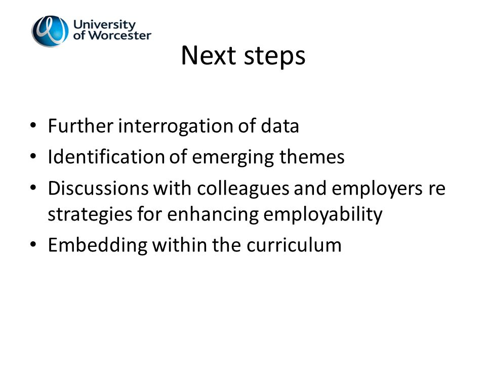 Next steps Further interrogation of data Identification of emerging themes Discussions with colleagues and employers re strategies for enhancing employability Embedding within the curriculum