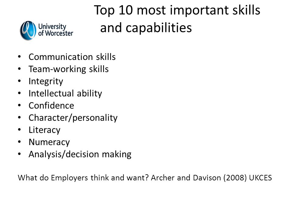 Top 10 most important skills and capabilities Communication skills Team-working skills Integrity Intellectual ability Confidence Character/personality