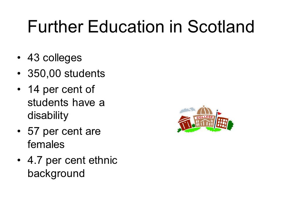 Further Education in Scotland 43 colleges 350,00 students 14 per cent of students have a disability 57 per cent are females 4.7 per cent ethnic backgr