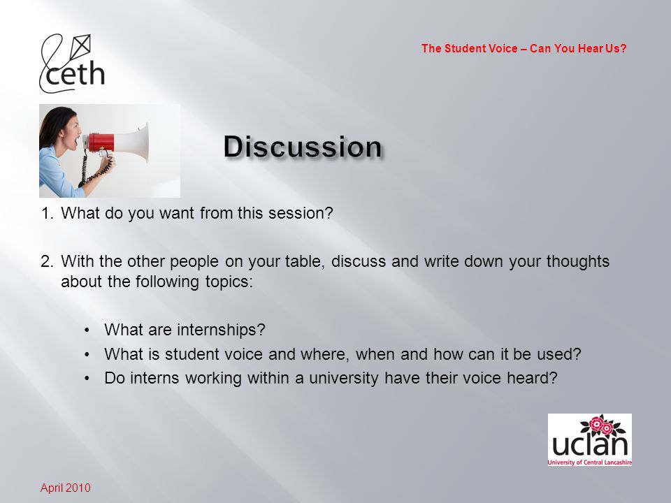 The Student Voice – Can You Hear Us.1.What do you want from this session.