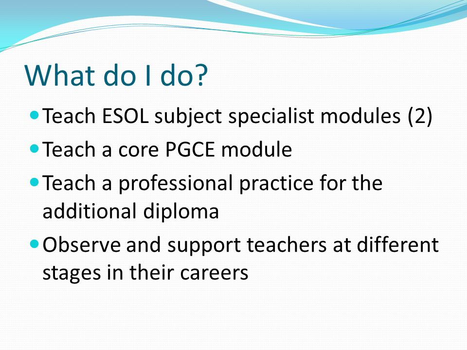 Teach ESOL subject specialist modules (2) Teach a core PGCE module Teach a professional practice for the additional diploma Observe and support teachers at different stages in their careers What do I do