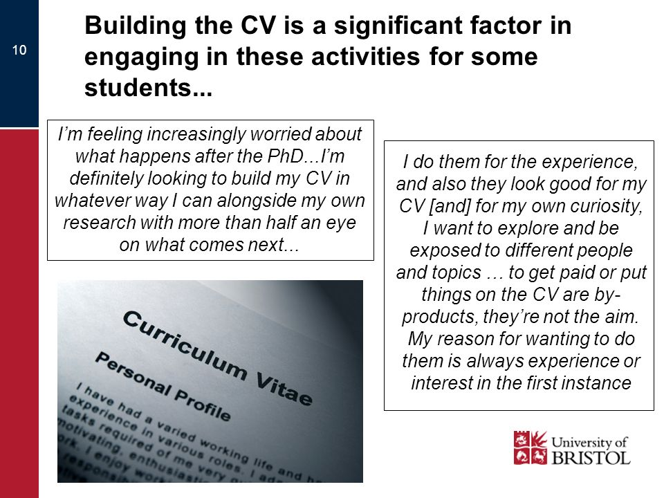 10 Building the CV is a significant factor in engaging in these activities for some students...