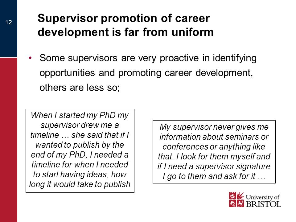 Supervisor promotion of career development is far from uniform Some supervisors are very proactive in identifying opportunities and promoting career d
