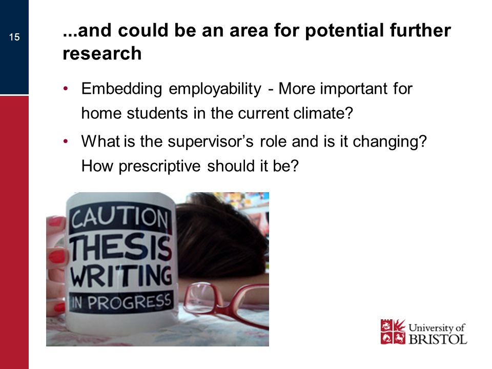 ...and could be an area for potential further research Embedding employability - More important for home students in the current climate.