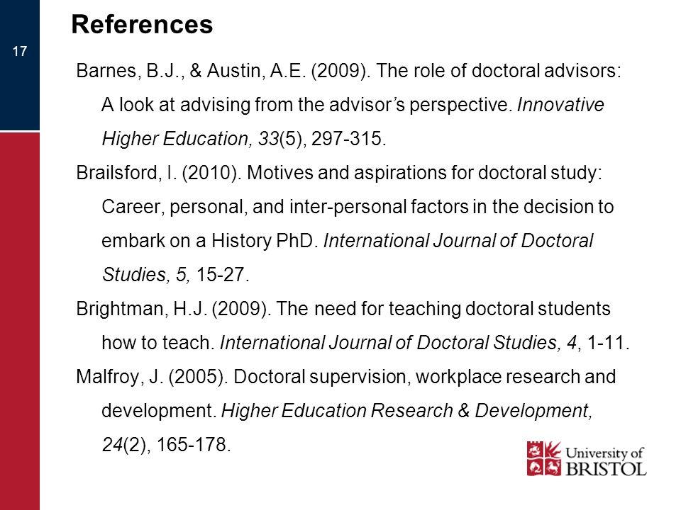 References Barnes, B.J., & Austin, A.E. (2009).