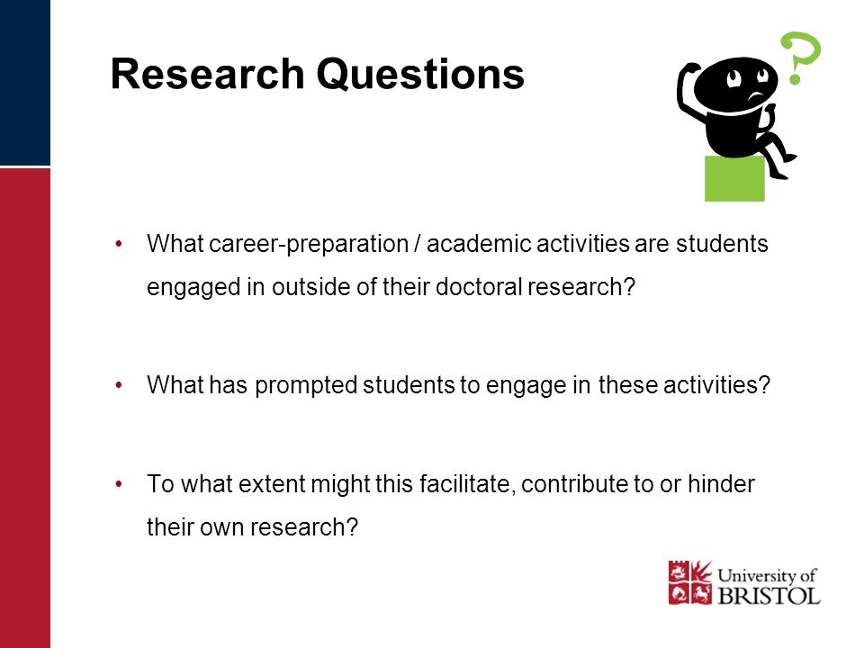 Research Questions What career-preparation / academic activities are students engaged in outside of their doctoral research.