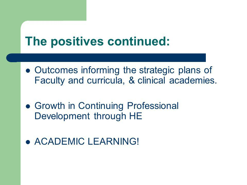 The positives continued: Outcomes informing the strategic plans of Faculty and curricula, & clinical academies. Growth in Continuing Professional Deve