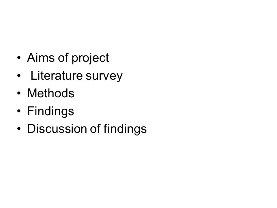 Aims of project Literature survey Methods Findings Discussion of findings
