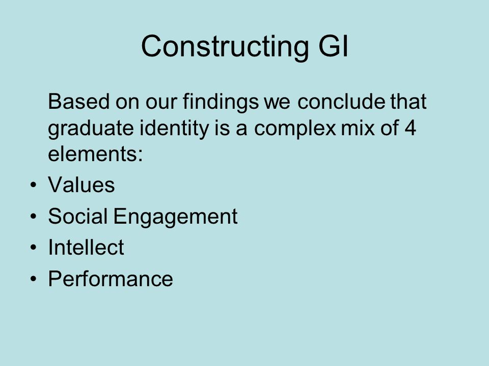 Constructing GI Based on our findings we conclude that graduate identity is a complex mix of 4 elements: Values Social Engagement Intellect Performance