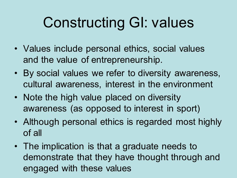 Constructing GI: values Values include personal ethics, social values and the value of entrepreneurship.