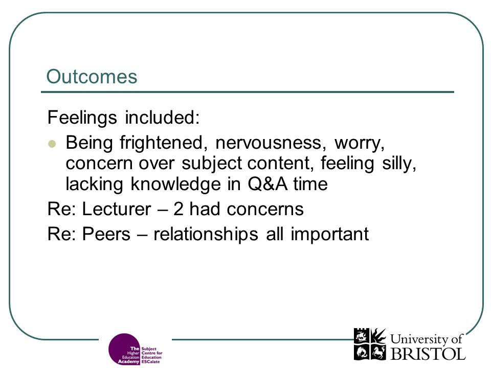 Outcomes Feelings included: Being frightened, nervousness, worry, concern over subject content, feeling silly, lacking knowledge in Q&A time Re: Lectu