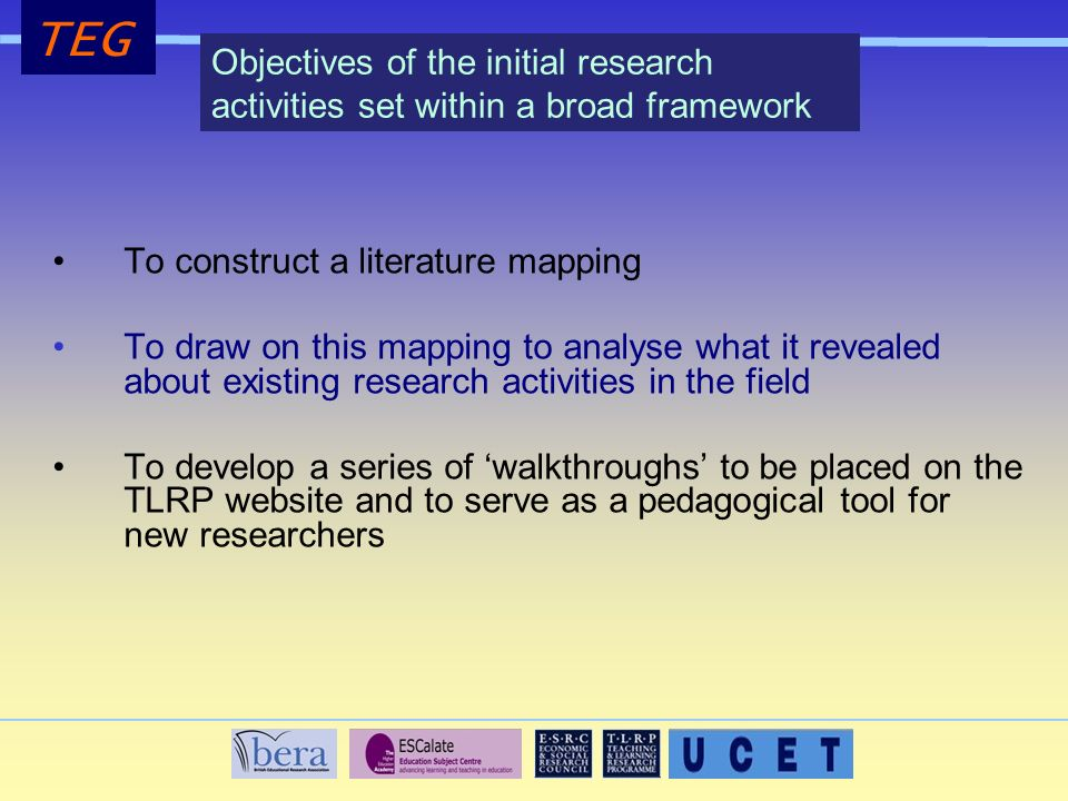 To construct a literature mapping To draw on this mapping to analyse what it revealed about existing research activities in the field To develop a series of walkthroughs to be placed on the TLRP website and to serve as a pedagogical tool for new researchers TEG Objectives of the initial research activities set within a broad framework