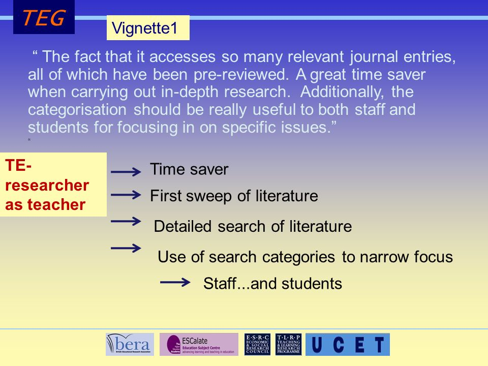 TEG Vignette1 The fact that it accesses so many relevant journal entries, all of which have been pre-reviewed.