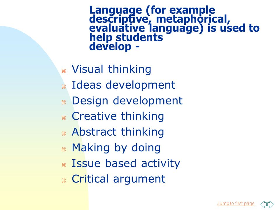 Jump to first page Language (for example descriptive, metaphorical, evaluative language) is used to help students develop - z Visual thinking z Ideas