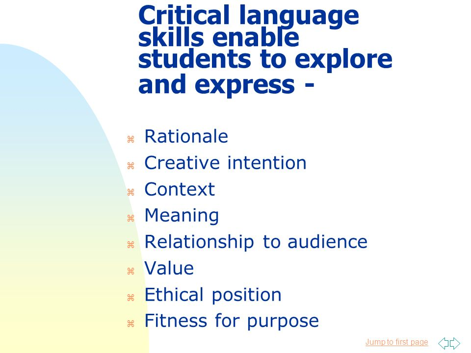 Jump to first page Critical language skills enable students to explore and express - z Rationale z Creative intention z Context z Meaning z Relationsh