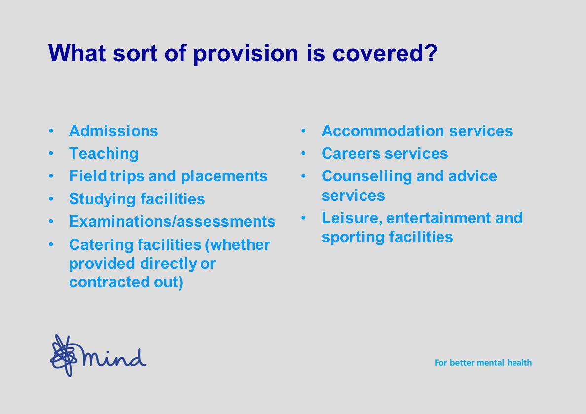 What sort of provision is covered.