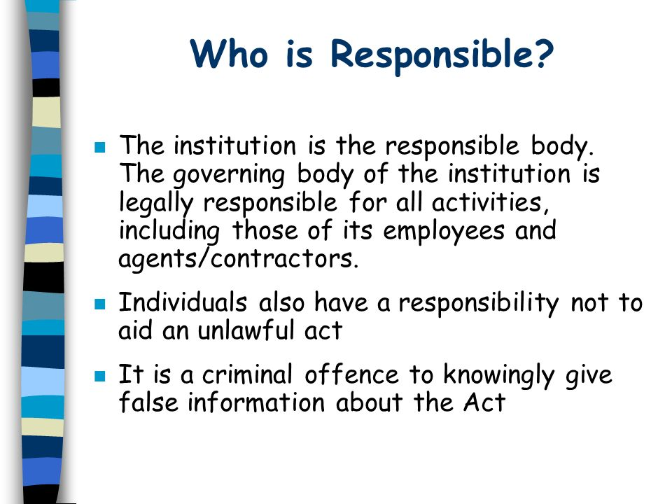 Who is Responsible? n The institution is the responsible body. The governing body of the institution is legally responsible for all activities, includ