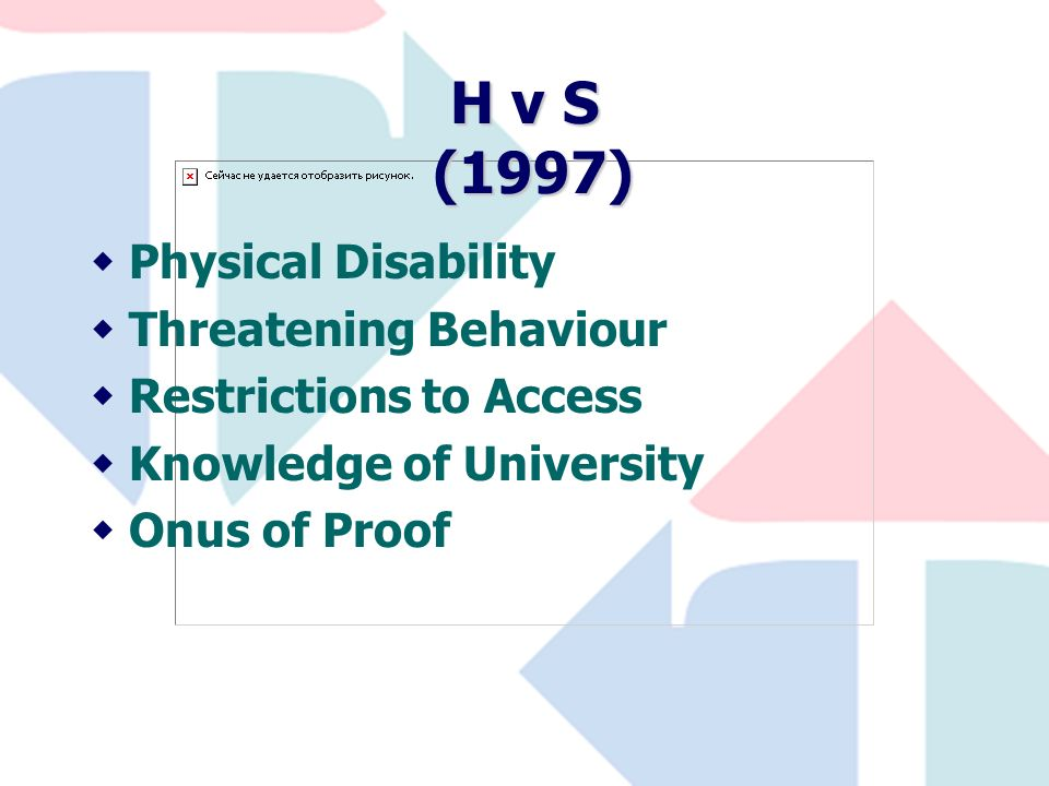 H v S (1997) wPhysical Disability wThreatening Behaviour wRestrictions to Access wKnowledge of University wOnus of Proof