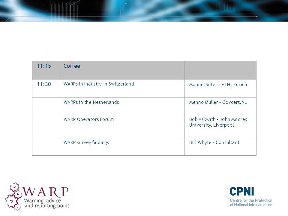 11:15Coffee 11:30 WARPs in Industry in Switzerland Manuel Suter – ETH, Zurich WARPs in the NetherlandsMenno Muller – Govcert.NL WARP Operators ForumBo