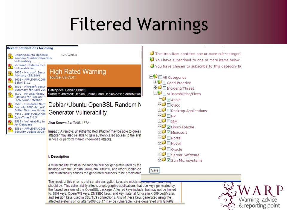 Filtered Warnings