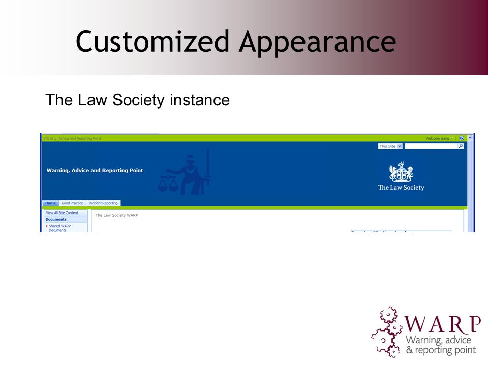 Customized Appearance The Law Society instance