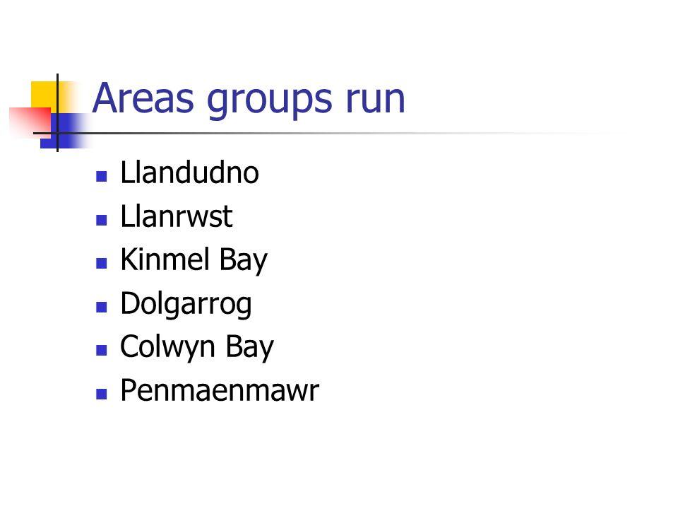 Areas groups run Llandudno Llanrwst Kinmel Bay Dolgarrog Colwyn Bay Penmaenmawr