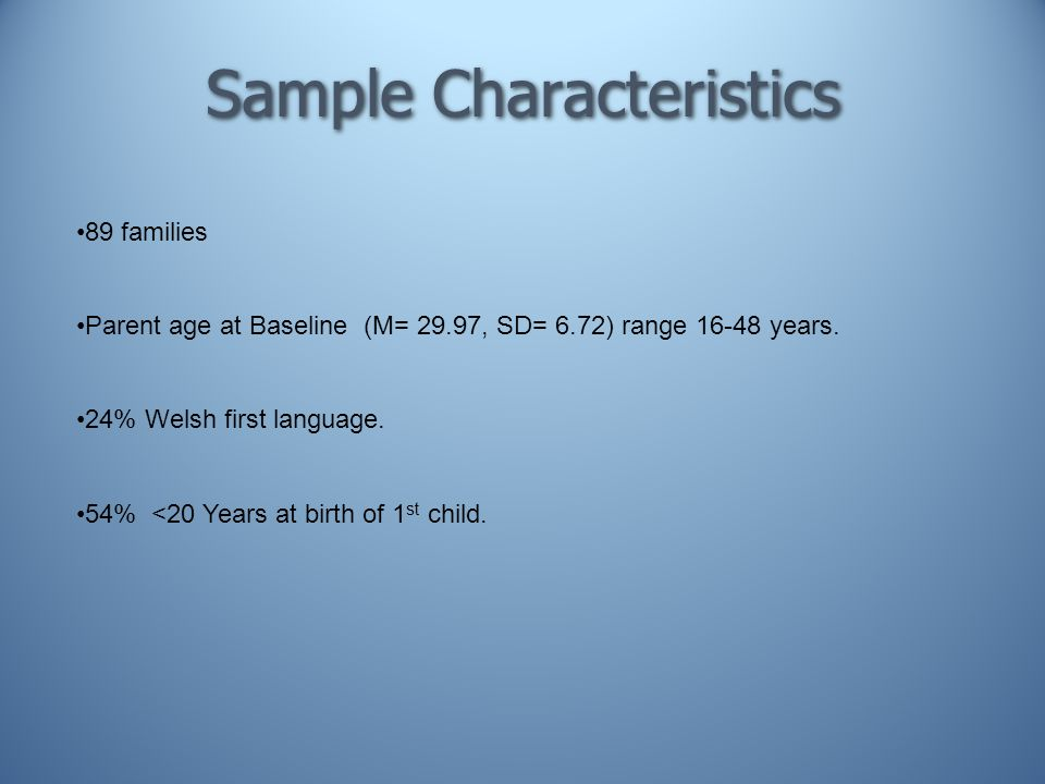Sample Characteristics 89 families Parent age at Baseline (M= 29.97, SD= 6.72) range 16-48 years.