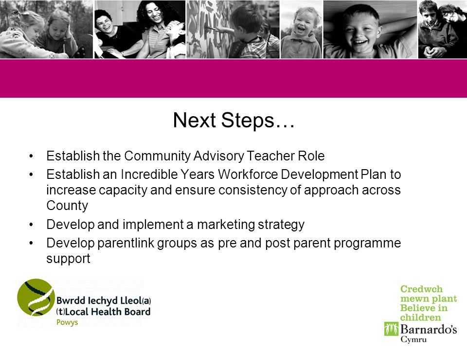Next Steps… Establish the Community Advisory Teacher Role Establish an Incredible Years Workforce Development Plan to increase capacity and ensure con