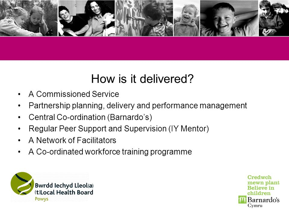 How is it delivered? A Commissioned Service Partnership planning, delivery and performance management Central Co-ordination (Barnardos) Regular Peer S