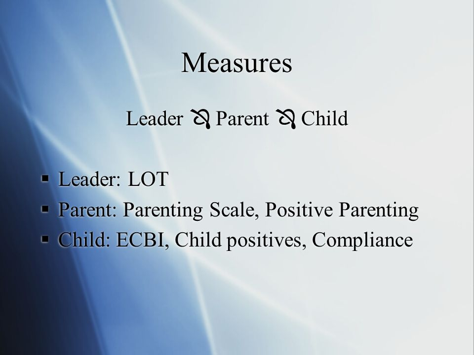 Measures Leader Parent Child Leader: LOT Parent: Parenting Scale, Positive Parenting Child: ECBI, Child positives, Compliance Leader Parent Child Leader: LOT Parent: Parenting Scale, Positive Parenting Child: ECBI, Child positives, Compliance