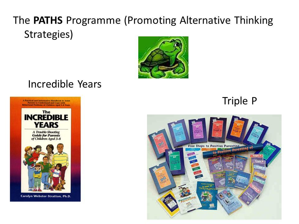 The PATHS Programme (Promoting Alternative Thinking Strategies) Incredible Years Triple P 5