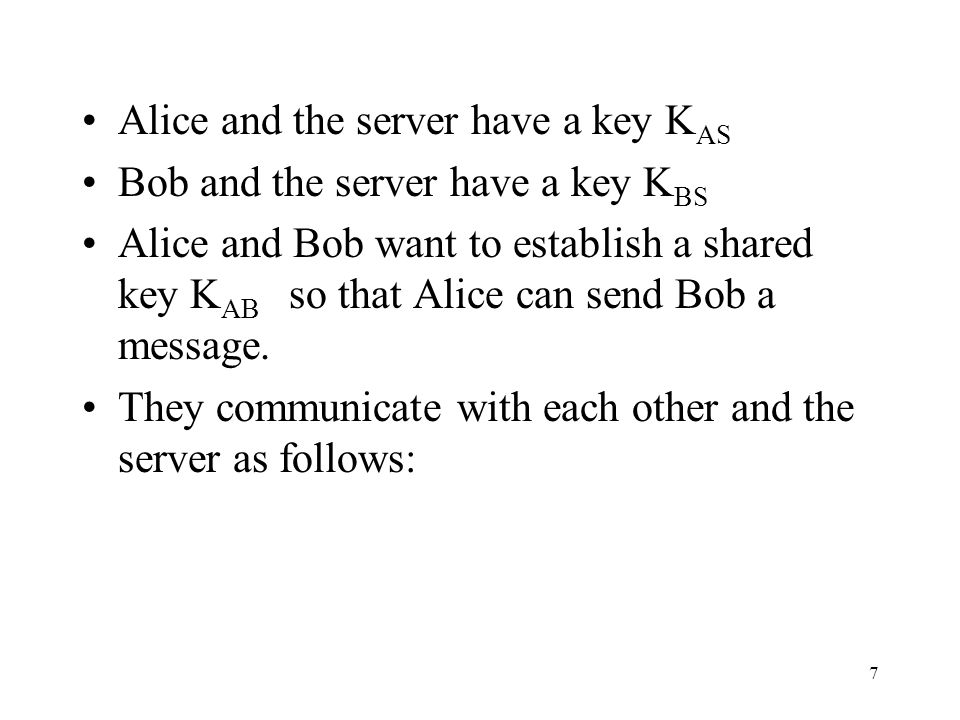 7 Alice and the server have a key K AS Bob and the server have a key K BS Alice and Bob want to establish a shared key K AB so that Alice can send Bob a message.